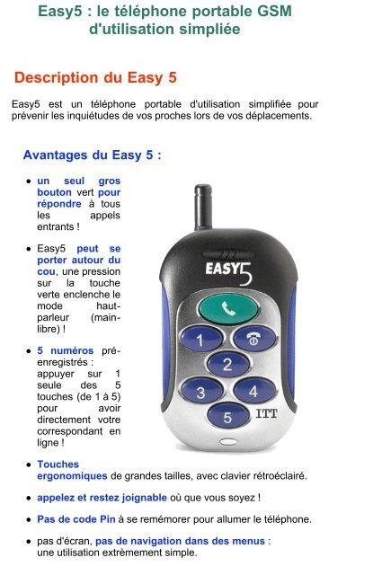 Easy5 : le téléphone portable GSM d'utilisation simpliée ... - Hacavie