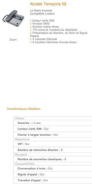 Alcatel Temporis 58 - Telephones - Fixe - Francetelecom.fr - Hacavie