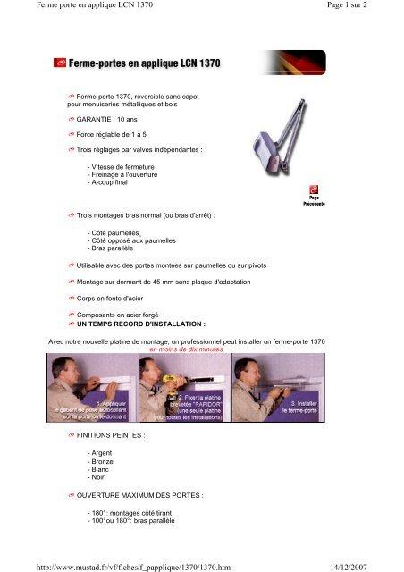 Page 1 sur 2 Ferme porte en applique LCN 1370 14/12/2007 http ...