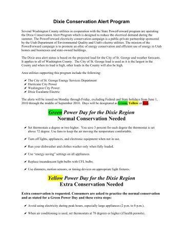 Dixie Conservation Alert Program - City of St. George