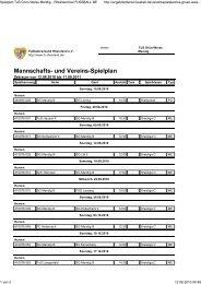 Mannschafts- und Vereins-Spielplan - SG Eintracht Mendig/Bell