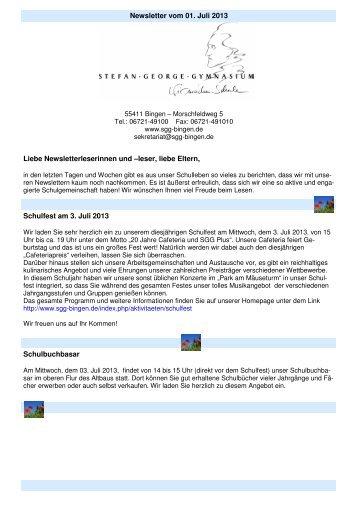 Newsletter vom 01. Juli 2013 Liebe Newsletterleserinnen und –leser ...