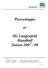 Pressemappe SG Langenfeld Handball Saison 2007 / 08 - der ...