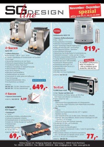 Info-Hotline: 06245/949030-1 - SGline Design
