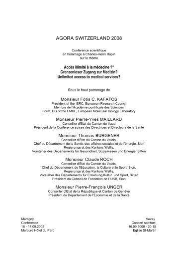 AGORA SWITZERLAND 2008 - Swiss Society of Medical Genetics