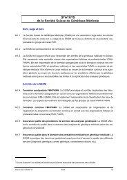 STATUTS de la Société Suisse de Génétique Médicale