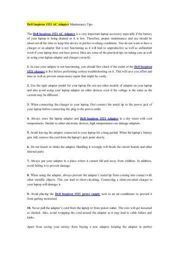 Dell Inspiron 1521 AC Adapter Maintenance Tips.pdf