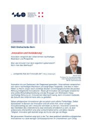 """SGO Drehscheibe Bern """"Innovation und Veränderung"""""""