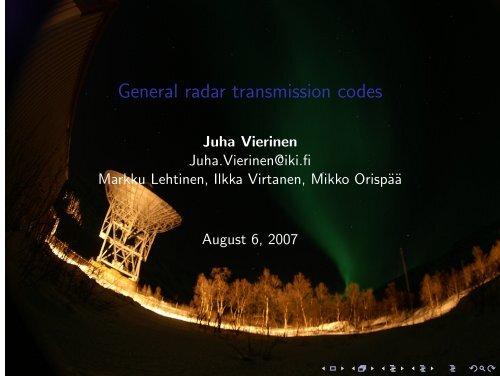 General radar transmission codes