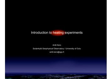 Introduction to heating experiments