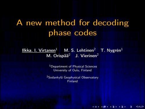 A new method for decoding phase codes - Sodankylä Geophysical ...