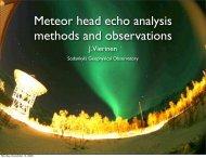 Meteor head echo analysis methods and observations - Sodankylä ...