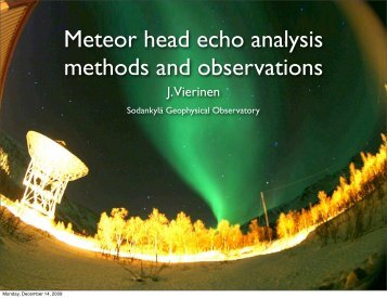Meteor head echo analysis methods and observations - Sodankylä ...