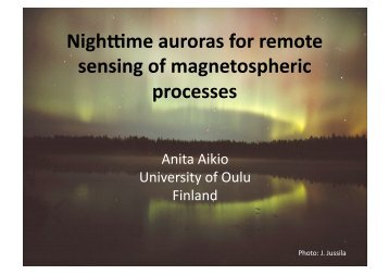 Nighttime auroras for remote sensing of magnetospheric processes