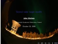 Several radar target models - Sodankylä Geophysical Observatory