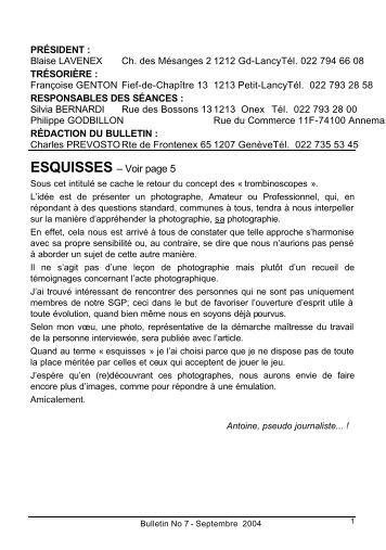 Bull SGP 7 - Sept. 2004 - Société Genevoise de Photographie