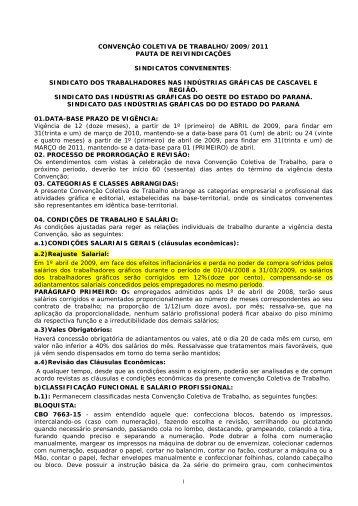 convenção coletiva de trabalho/2009/2011 pauta ... - Sgrafico.com.br