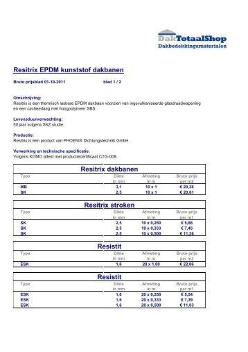Resitrix EPDM kunststof dakbanen Resitrix dakbanen Resitrix ...