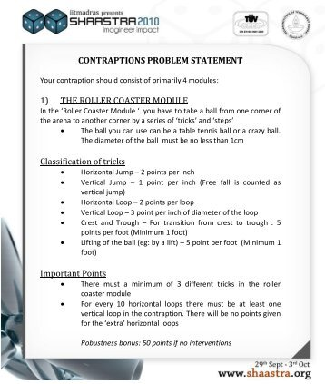 CONTRAPTIONS PROBLEM STATEMENT 1) THE ... - Shaastra