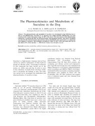 The Pharmacokinetics and Metabolism of Sucralose in the Dog - Shac