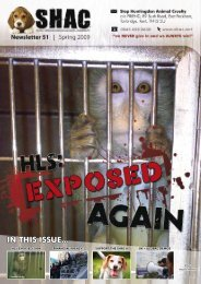 IN THIS ISSUE... - SHAC >> Stop Huntingdon Animal Cruelty