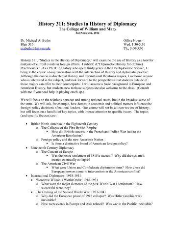History 311: Studies in History of Diplomacy - SHAFR.org