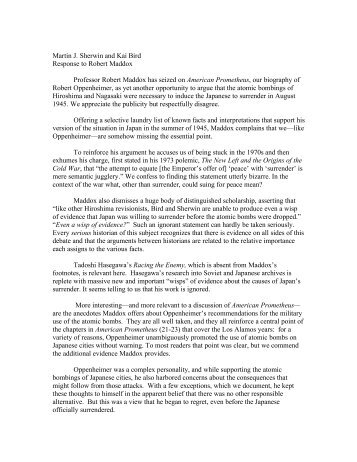 Martin J. Sherwin and Kai Bird Response to Robert ... - SHAFR.org