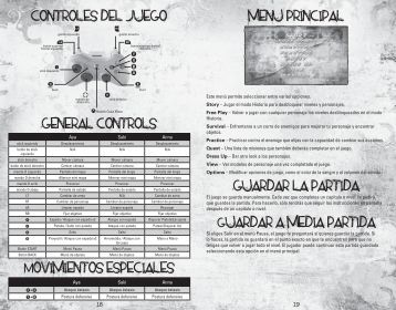 controles del juego general controls Movimientos especiales ... - Xbox