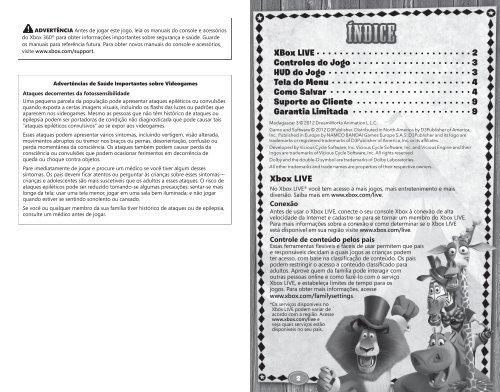 XBox LIVE Controles do Jogo HUD do Jogo Tela do Menu Como ...