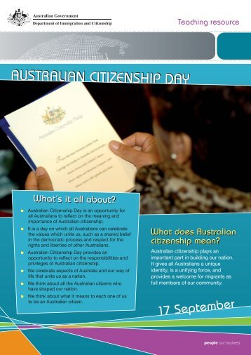 Australian Citizenship Day - Secondary Teaching Resource