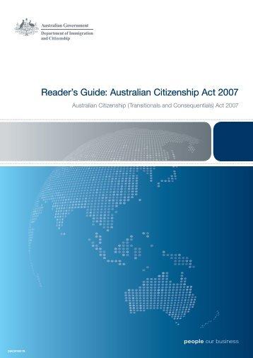 Readers Guide: Australian Citizenship Act 2007