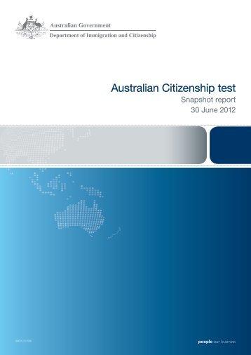 Australian Citizenship test snapshot report 30 June 2012