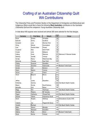 Crafting of an Australian Citizenship Quilt WA Contributions