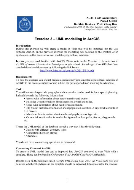 Exercise 3 – UML modelling in ArcGIS
