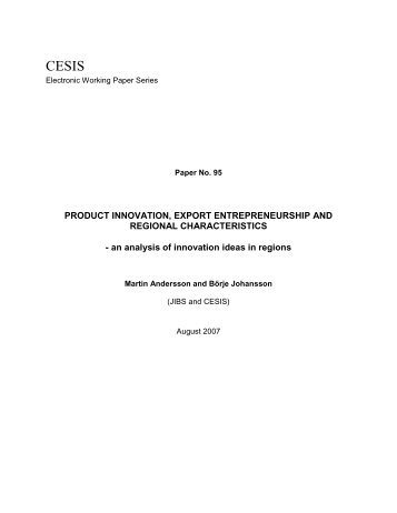 PRODUCT INNOVATION, EXPORT ENTREPRENEURSHIP AND ...