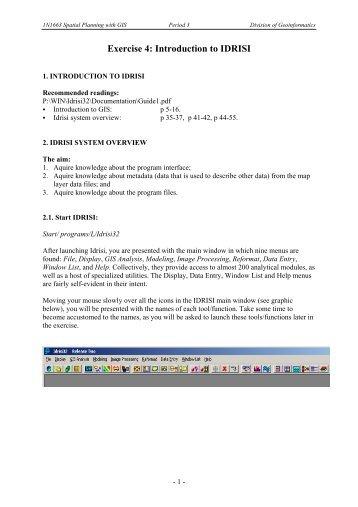 Exercise 4: Introduction to IDRISI