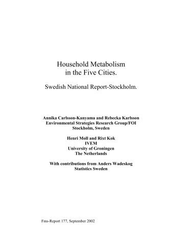 Household Metabolism in the Five Cities.