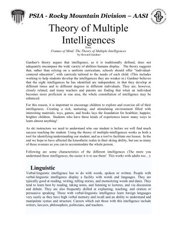 a critique of gardners theory of multiple intelligences