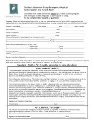 Outdoor Adventure Camp Emergency Medical Authorization And ...