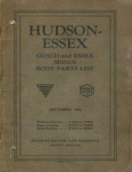 1926 Hudson - Essex Coach and Essex Sedan Body Parts List