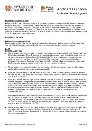 CHRIS/5 Applicant Guidance Notes - University of Cambridge