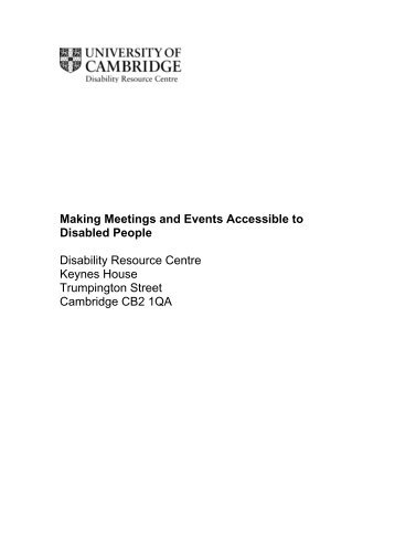 Making Meetings and Events Accessible to Disabled People