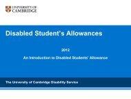 Disabled Student's Allowances - University of Cambridge