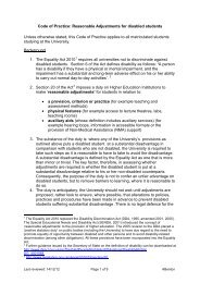 Reasonable Adjustments for disabled students - the University ...
