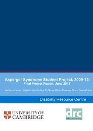 Asperger Syndrome Student Project, 2009-12 - the University Offices ...
