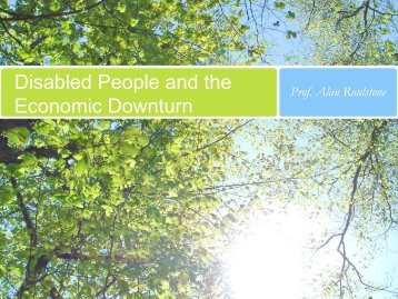 "2009 Presentation ""Disabled People and the Economic Downturn"""