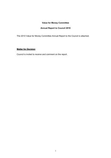 Value for Money Committee Annual Report to Council 2010
