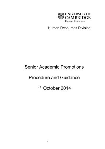 Senior Academic Promotions Procedure and Guidance 2013