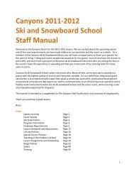 Canyons 2011-2012 Ski and Snowboard School Staff Manual