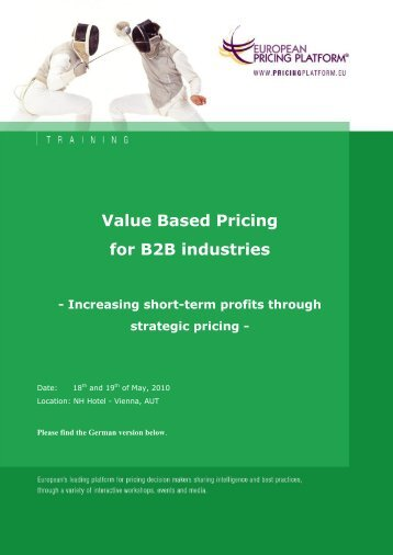 Value Based Pricing for B2B industries - Hinterhuber & Partners
